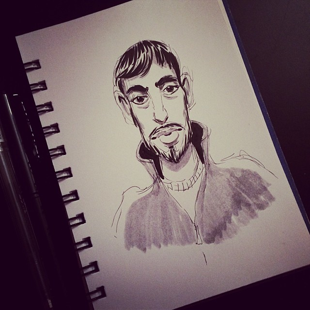 Mo' #sketching, this time thee #drawing is of @kiksdoodle himself. #sketch #ink #pen #pentel #drawing #draw #sketchbook #doodle #illustration #art #portrait #portland #pdx (at Fuel Cafe)