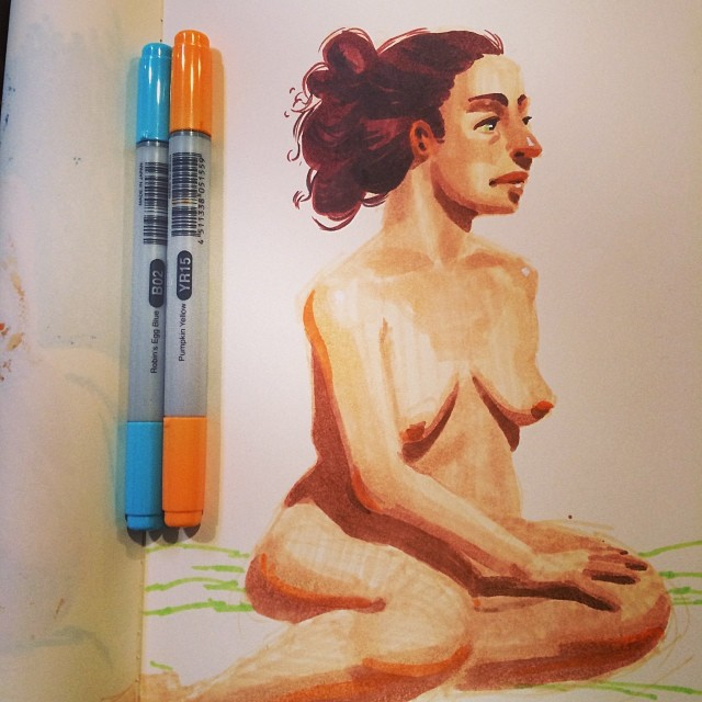 Another #marker #drawing from life. #draw #markers #copic #figuredrawing #figure #lifedrawing #ink #illustration #sketch #sketchbook #sketching #practice #art #artistworkout #woman #study #anatomy #female #doodle #paint #portrait #portland #pdx