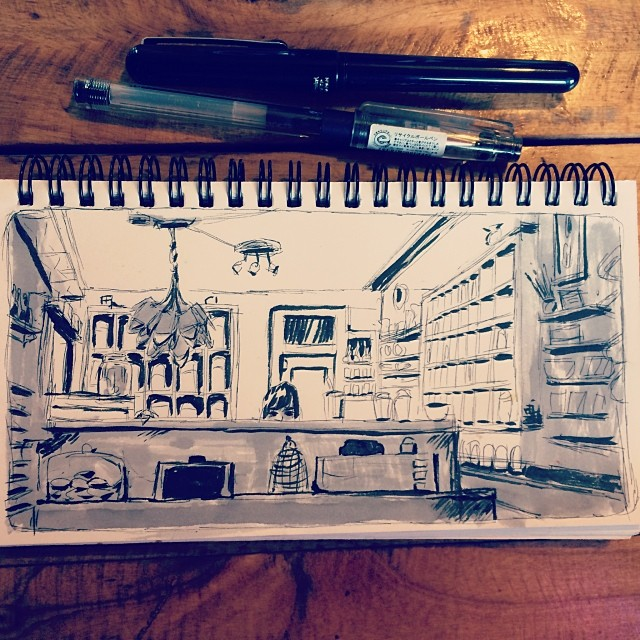#cafe #sketch from the other day @teachaite - #drawing #draw #urbansketching #sketching #sketchbook #illustration #doodle #art #pen #pentel #ink #location #sbkchallenge14 #artistworkout #portland #pdx