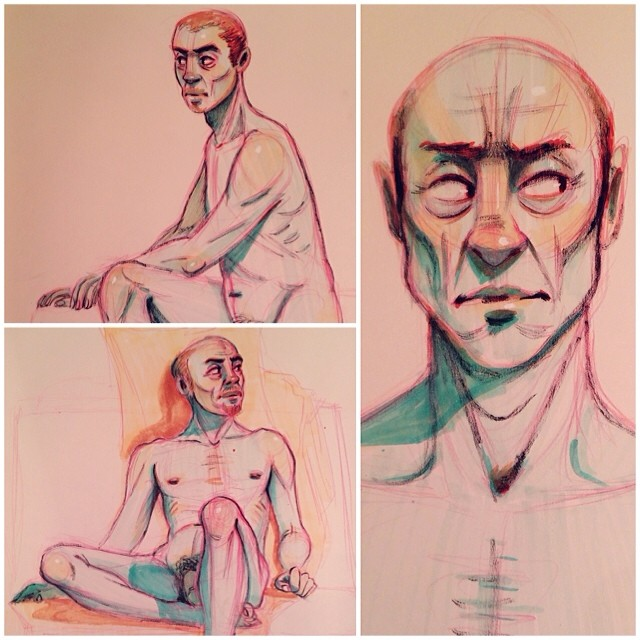 Details of some of my #figuredrawings from today. I'm experimenting with #color more lately. #copic #marker #markers #pentel #brush #pen #ink #lifedrawing #figuredrawing #sketch #sketchbook #sketching #ddf2014 #artistworkout #sbkchallenge14 #drawing #illustration #anatomy #portland #pdx (at Hipbone Studios)