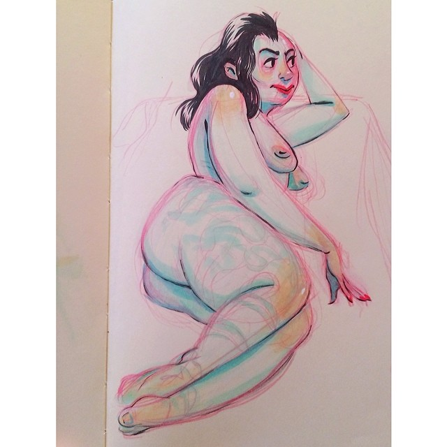 A #sketch from today's #figuredrawing session. Girl had half a shaved head and a massive leg tattoo I gave up on >< #sketchbook #moleskine #copic #markers #pentel #brushpen #drawing #lifedrawing #doodle #ddf2014 #artistworkout #art #lady #woman #figure #anatomy #portland #pdx (at Hipbone Studios)