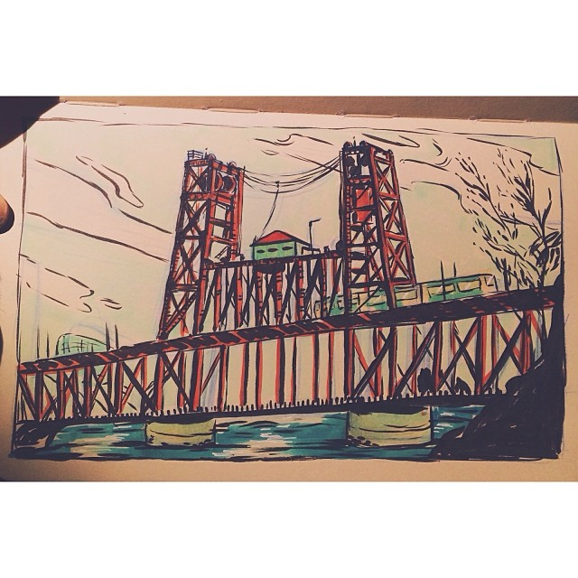 Tackling my arch nemesis… Architecture. #portland #pdx #steelbridge #draw #drawing #sketch #sketchbook #ink #pentel #copic #marker #markers #moleskine #architecture #illustration #art #sbkchallenge14 #artistworkout #practice #sunday (at Goodfoot Pub & Lounge)