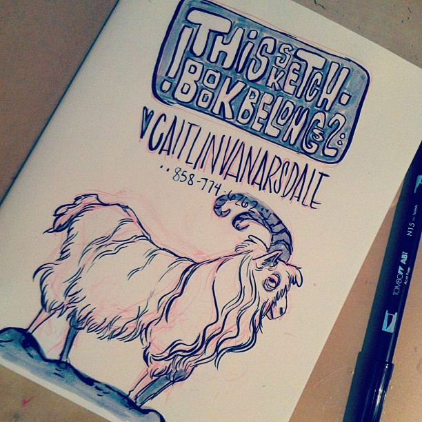 new #sketchbook, #new #inktober drawing! I happen to #love #goats 😊 #goat #ink #sketch #sketching #draw #drawing #illustration #art #artwork #doodle #pen #animal #animals #cute #ram #portland #pdx (at The Drawing Den)