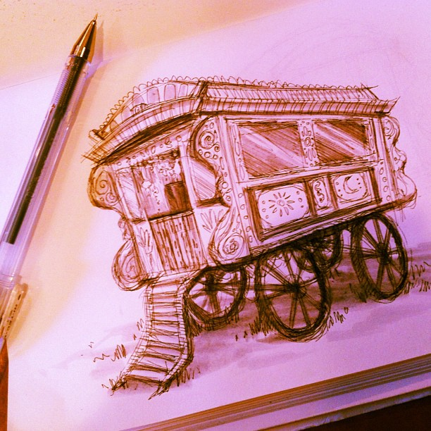A wonky #inktober #sketch of a #gypsy #caravan ! Based on a photo I saw on the interwebs. #draw #drawing #sketch #concept #idea #doodle #sketching #art #illustration #pen #ink #vehicle #travel #gypsies #portland #pdx #thoseaxlesdontlookright (at Rocking Frog Cafe)