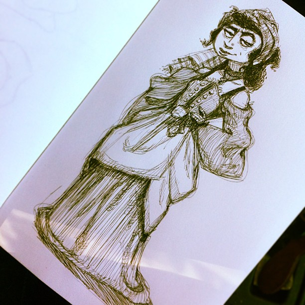 An #inktober #gypsy #girl to go along with the caravan from earlier! #character #characterdesign #gypsies #woman #cartoon #animation #artofanimation #sketch #doodle #concept #draw #drawing #sketching #illustration #art #conceptart #portland #pdx #shelooksalittlesuspicious (at Rocking Frog Cafe)