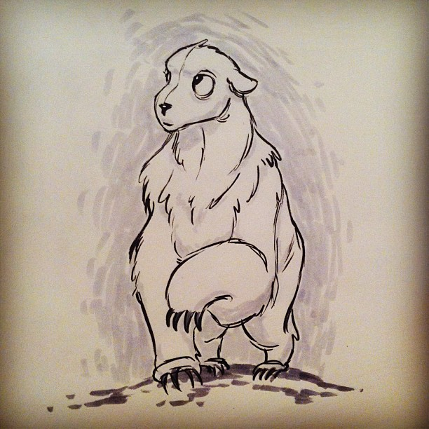 #inktober day 8! A #fluffy #polarbear that kinda looks like a #puppy. #sketch #sketching #doodle #draw #drawing #illustration #art #artwork #design #characterdesign #animal #animals #ink #portland #pdx #sketchbook #cartoon #cartoons (at The Drawing Den)