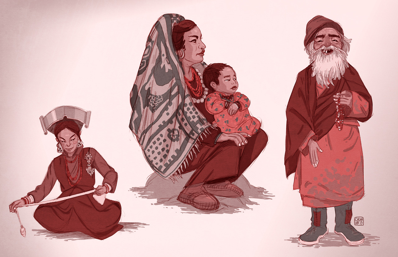 some sketches from yesterday. i'm working on a project and using himalayan culture / clothing for reference. so fun!