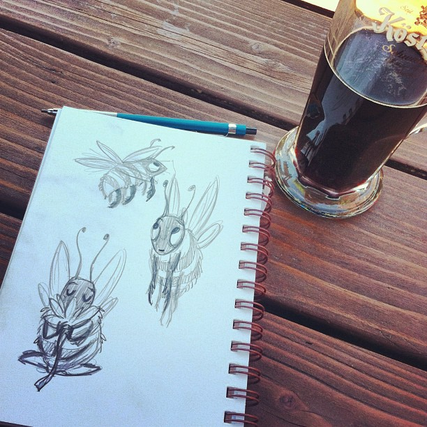 Outdoor #german #beer #drinking, and #happy #bee #sketching. #sketch #sketchbook #doodle #bumblebee #sunshine #character #characterdesign #pencil #summer #portland #pdx (at Prost! Portland)