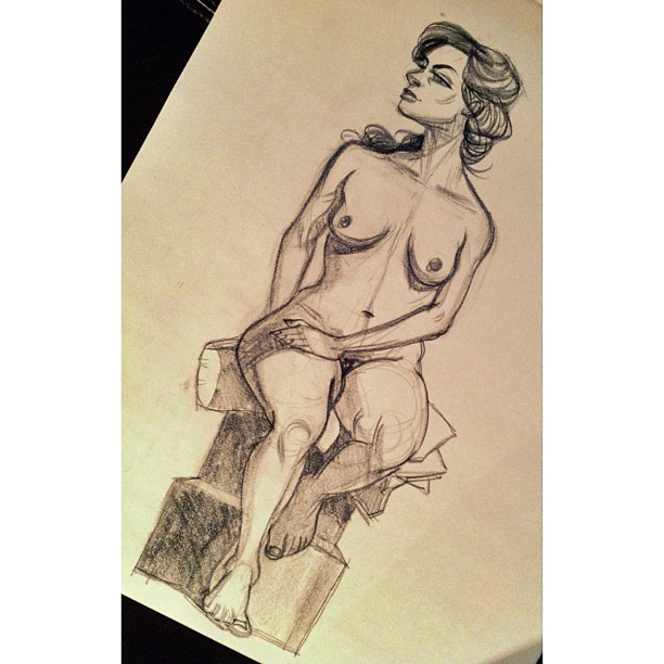 Aaand another #figuredrawing from Hipbone today. #draw #drawing #lifedrawing #nude #character #sketch #doodle #charcoal #art #illustration #practice #portland #pdx #soap