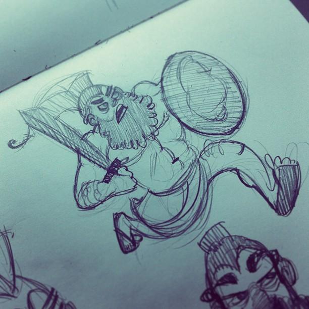 Menelaus is pissed… #doodle #sketch #sketching #sketchbook #character #characterdesign #draw #drawing #dailydrawings #instagood #soap #menelaus #greek #pdx #portland (at Stumptown Coffee Roasters)