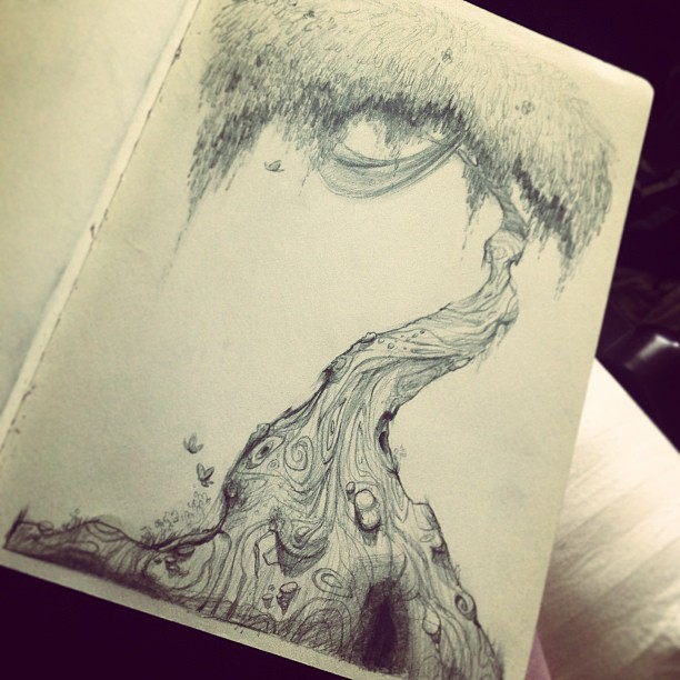 Tree doodle from a couple days ago #doodle #sketch #sketching #sketchbook #draw #drawing #drawings #illustrate #illustration #art #artwork #artoftheday #instaart #instaartist #instagram #instagood #tree #trees #nature #magic #fantasy #design #environment #pencil #graphite #sackonapipe #hashtagtap #waytoomanyhashtags