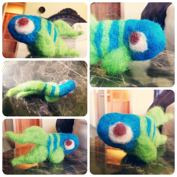 Experimenting with wool, and it's so much fun! This is my first attempt at a little wool fish dude. Next time I'll actually design it first >_< #artoftheday #artwork #art #wool #handmade #toy #toys #design #craft #draw #cartoon #designs #characterdesign #character #fish #fishy #cute #pdx #portland #animal #animals #stuffedanimal #sackonapipe #waytoomanyhashtags