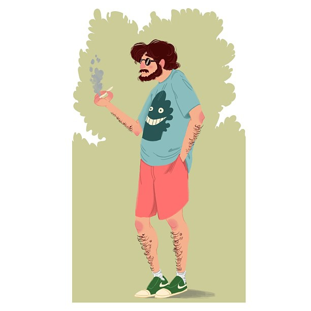 Colored this dude from yesterday… Smokin' trees, man.  #draw #drawing #drawings #character #characterdesign #smokintrees #portland #pdx #illustration #sketch #color #photoshop #digital #digitalpainting #art #artoftheday #artwork #silly #dude #instaart #nofilter #waytoomanyhashtags