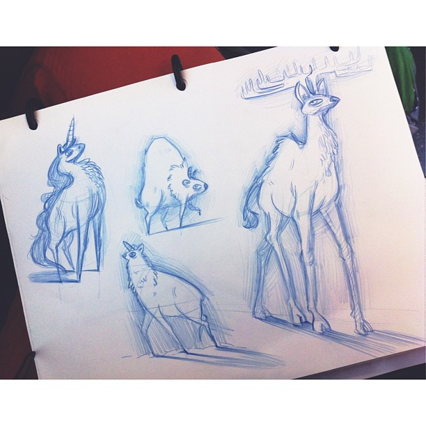 More unicorn-inspired animals. @bearmanbeast @dontasma #draw #drawing #drawings #sketch #sketching #sketchbook #dailydrawings #animal #animals #deer #unicorn #buffalo #character #characterdesign #art #artwork #artoftheday #illustration #pencil #paper #stillsomanyhashtags