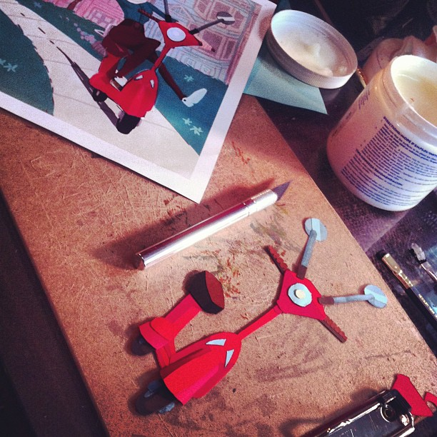 Working on my first illustration made completely from paper cut outs… Stay tuned for the final! This tiny vespa took forever >_< #qualitytakestime #wip #illustrate #illustrator #illustration #art #artwork #artoftheday #paper #glue #papercutout #cutpaper #sculpture #papercut #craft #crafts #draw #drawing #design #designs #pagedesign #vespa #vespa #instaart #instaartist #instagood #cute #cartoon #working #exacto #patience #somanyhashtags