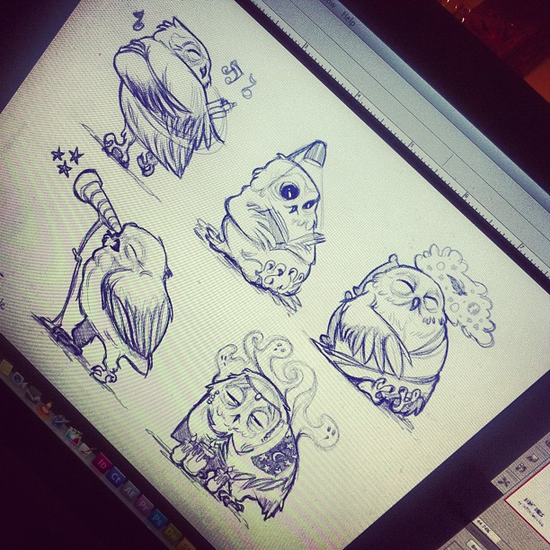 "#Concepts for another #project based on #puns … These are ""night owls"" >_< #draw #drawing #sketch #sketching #digital #characterdesign #characters #photoshop #cintiq #dailydrawings #art #artwork #artoftheday #owl #owls #nightowl #ideas #instaart #instaartist #somanyhashtags"