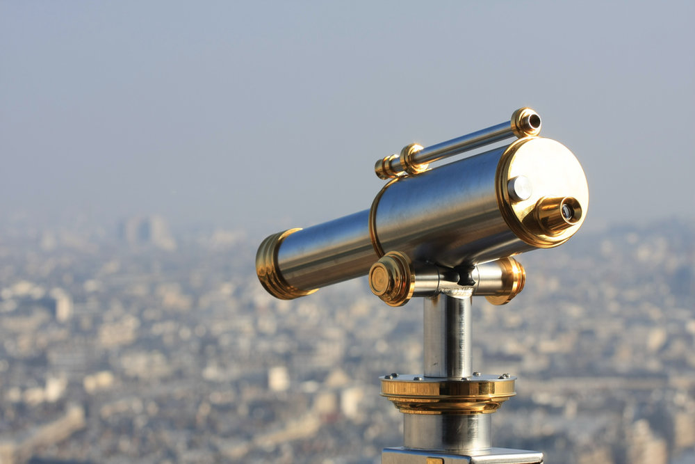 Telescope on Eiffel Tower by Adrian Scottow, Attribution-ShareAlike 2.0 Generic