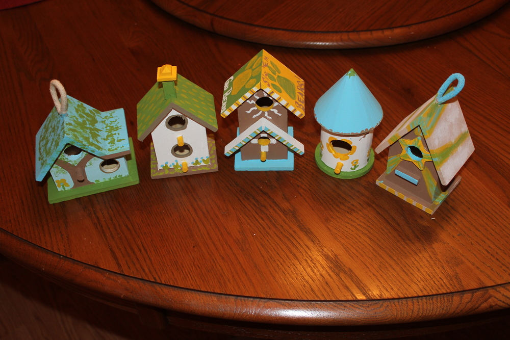 Contest of the Week - 5 colors, one birdhouse per adult, best wins. I came in....last. Hey, my family is creative!
