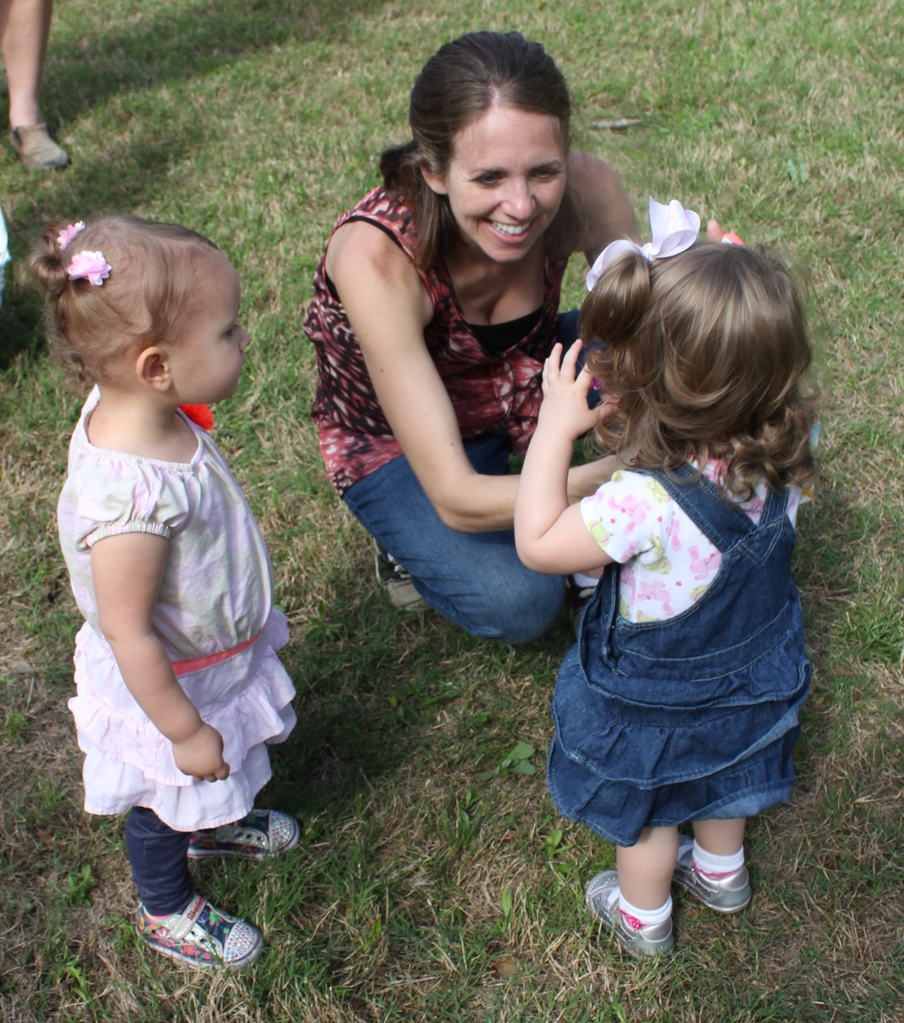 Kenzie, Jessi, and Avi at the conclusion of the Egg Hunt.