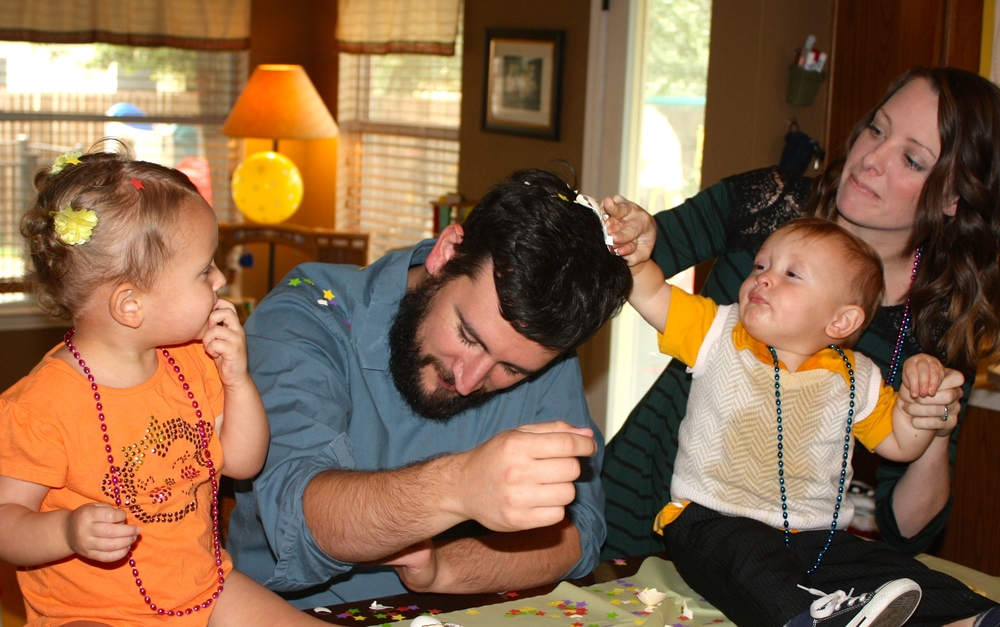 Kenzie and Judah cracked the confetti eggs on Joshua's head...one at a time!