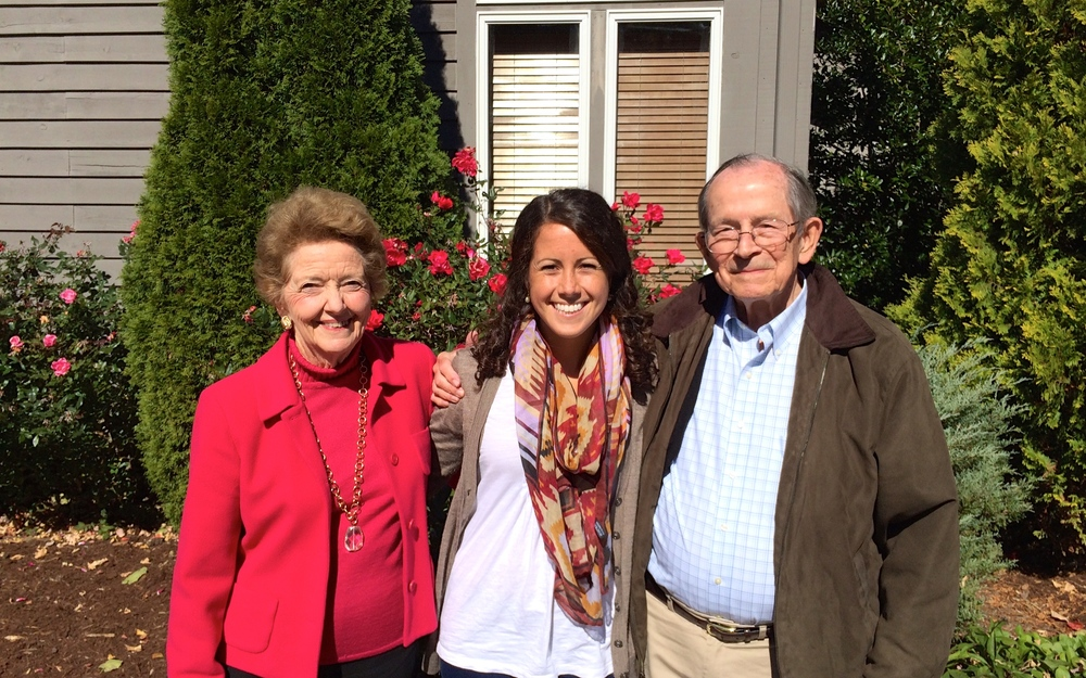 Caroline with her grandparents after lunch at the club.