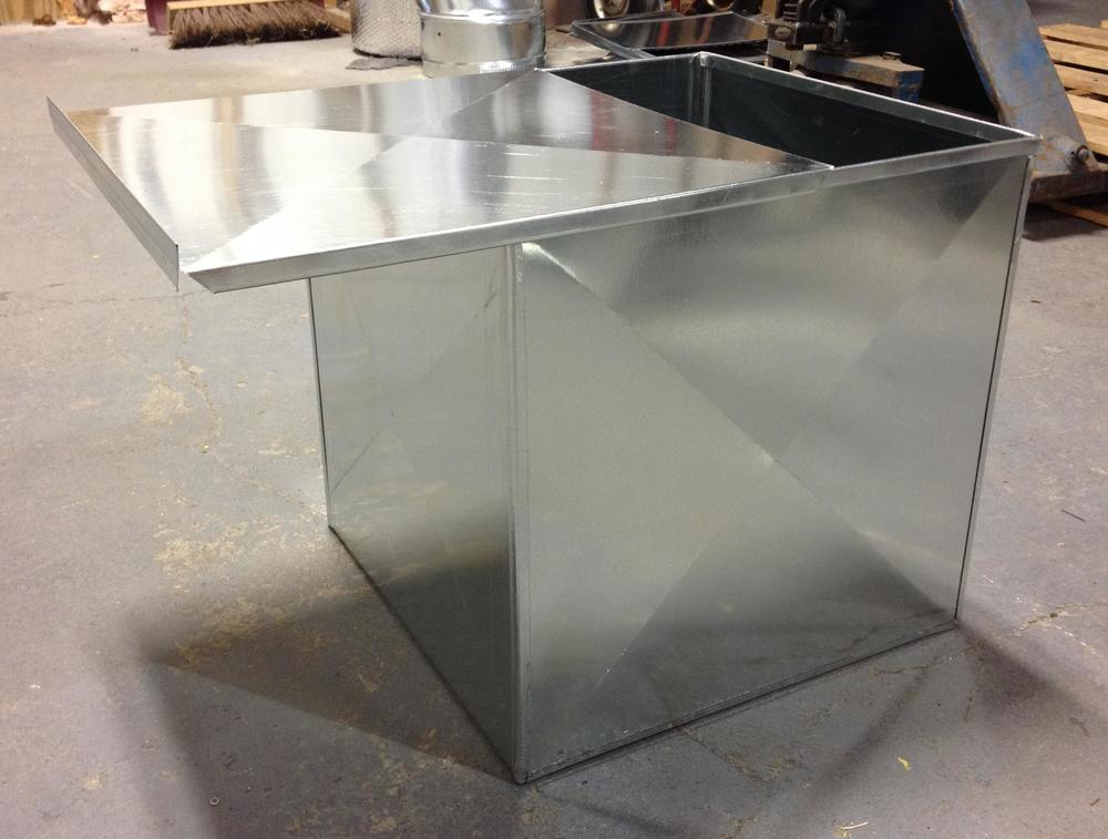 Custom Sheet Metal : Custom galvanized sheet metal ash box — k e