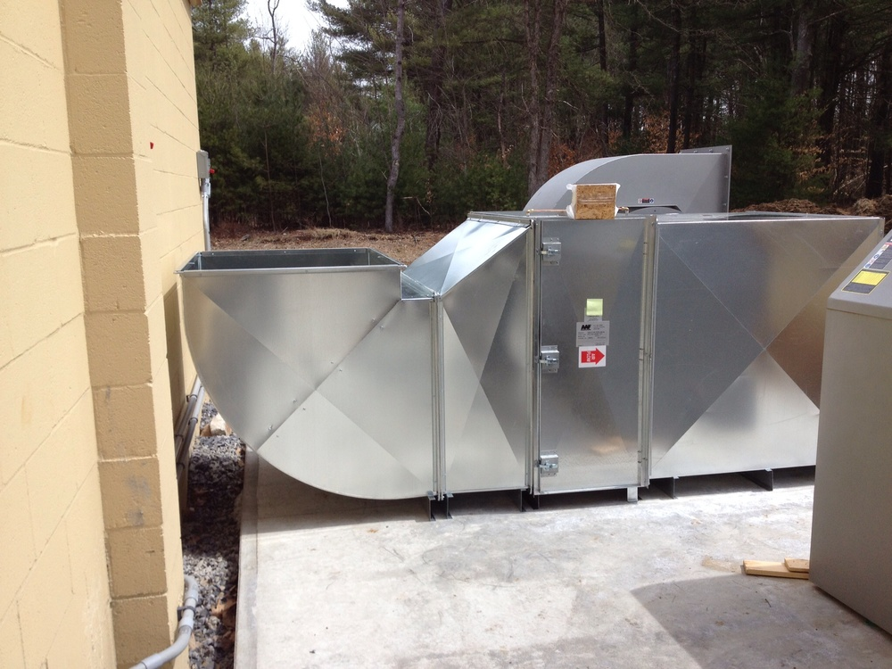 Installation of the Exit Air Unit ductwork and filter cabinet.