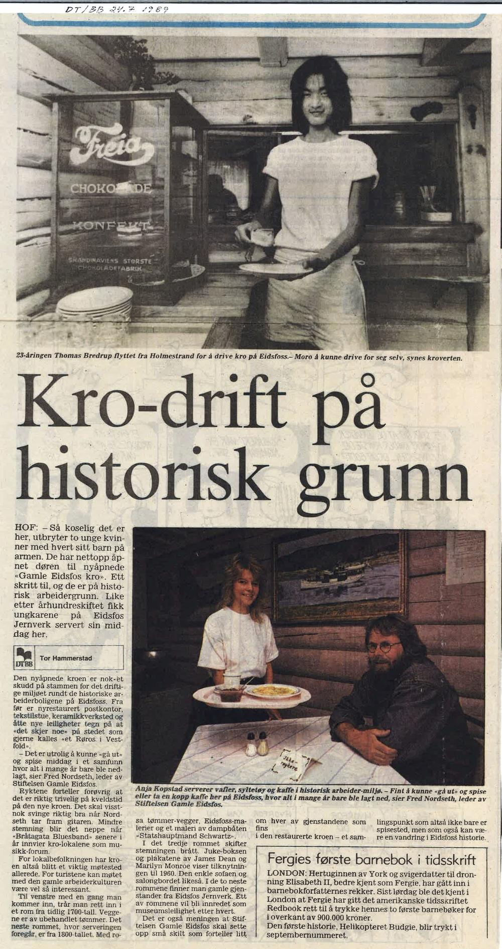 Drammens Tidende 24. juli 1989