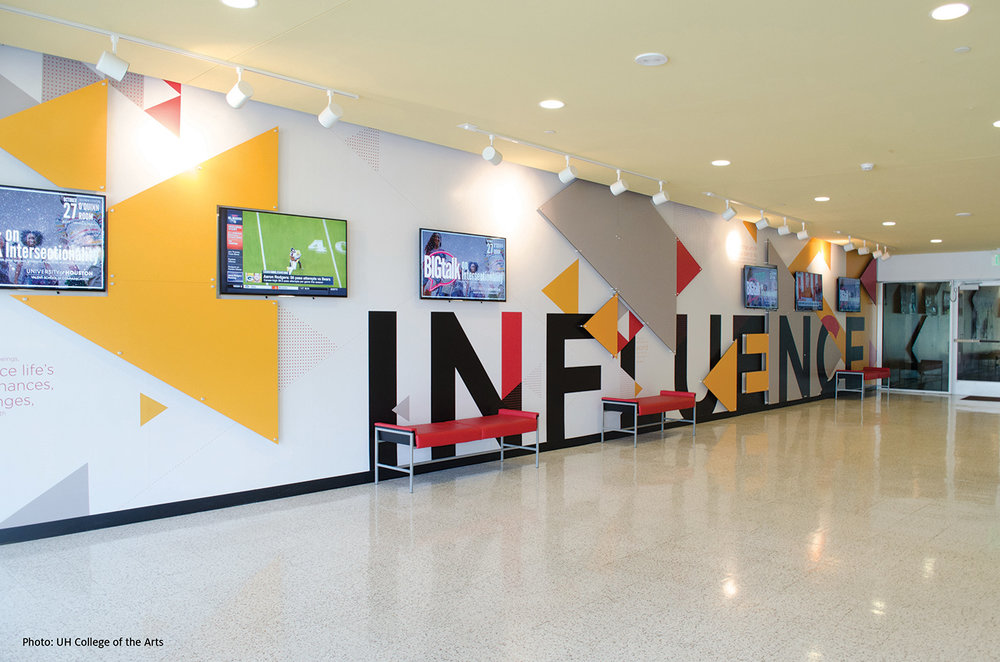 """Influence"" by Matthew Oakes in the foyer of the Valenti School of Communication building"