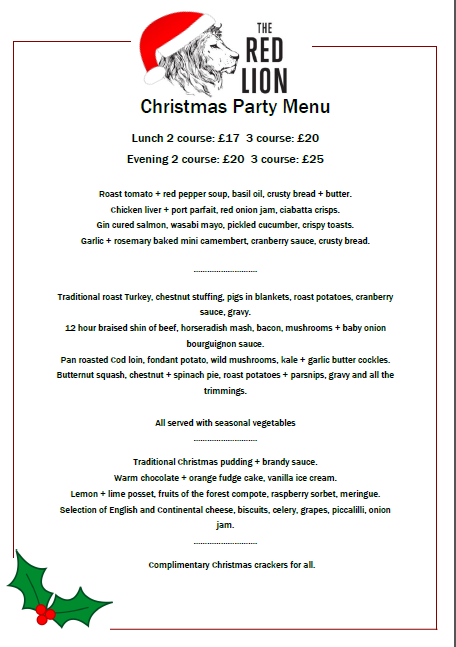 Our Christmas Party menu will be on offer all throughout December except for Christmas day. This is a pre order menu and we highly recommend it for larger parties.