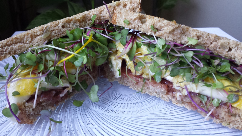 Microgreens gave an extra flavor accent in my favorite brunch sandwich (inspired by Lititz, PA's Tomato Pie): melted brie, scrambled egg, and raspberry jam on toasted sunflower bread!