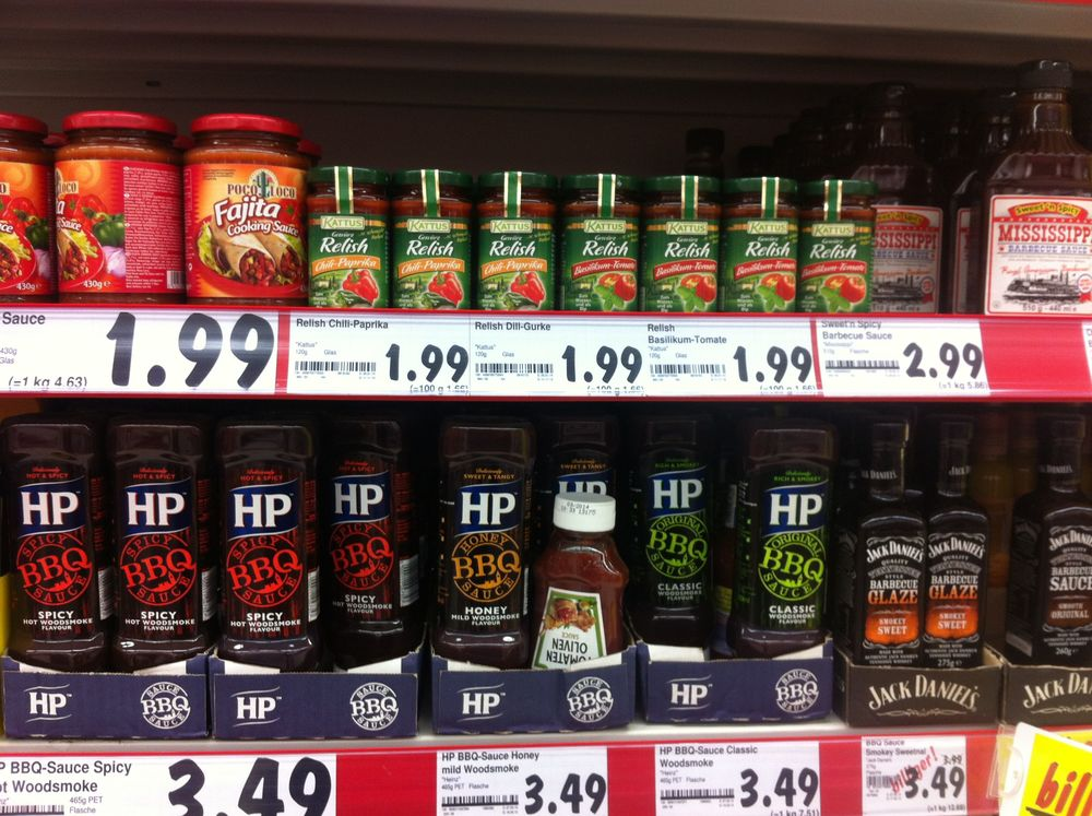"Here is a better view of the american shelf. They have ""mexican sauce"" too."