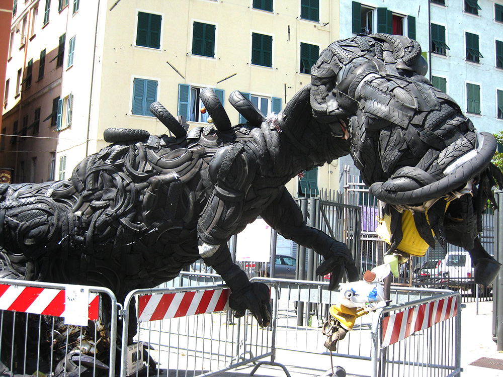 T-Rex made of tires