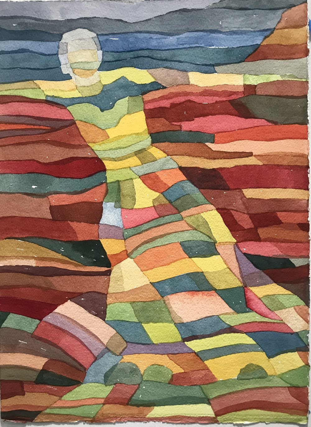 Woman in Landscape II | Watercolor on Paper | 15 x 11 in. | 2017 | Price upon Request