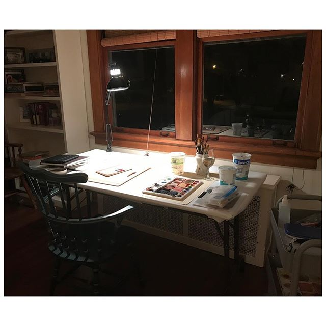 Studio view / watercolor table . . #nancycheairs #watercolor #painting #drawing #studio #contemporaryart #contemporarypainting