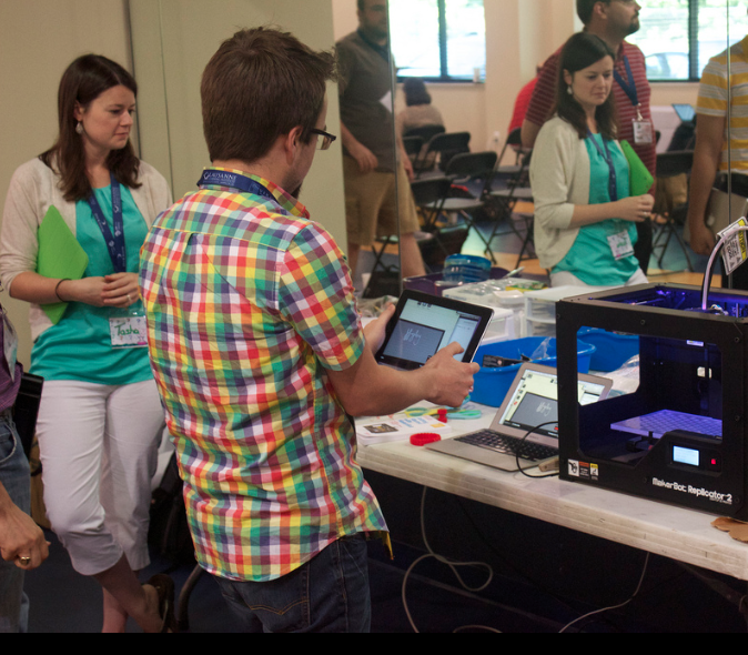 Educators trying their hand at 3D printing.