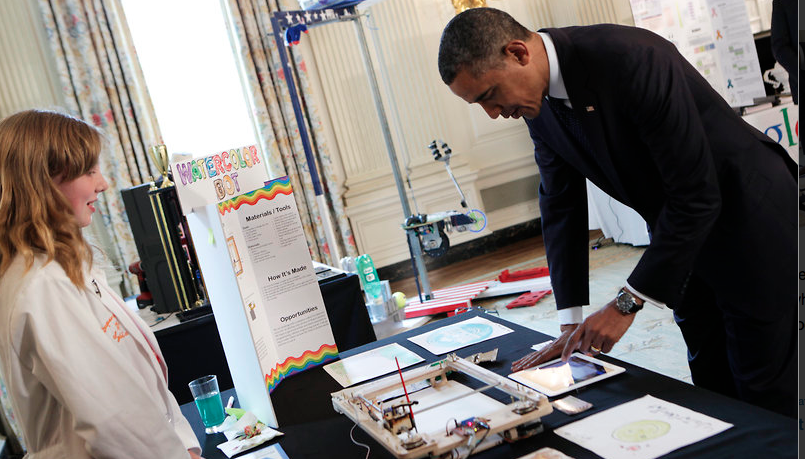President Obama explores Sylvia's station at the White House Science Fair. Image credit: Super-Awesome Sylvia's blog