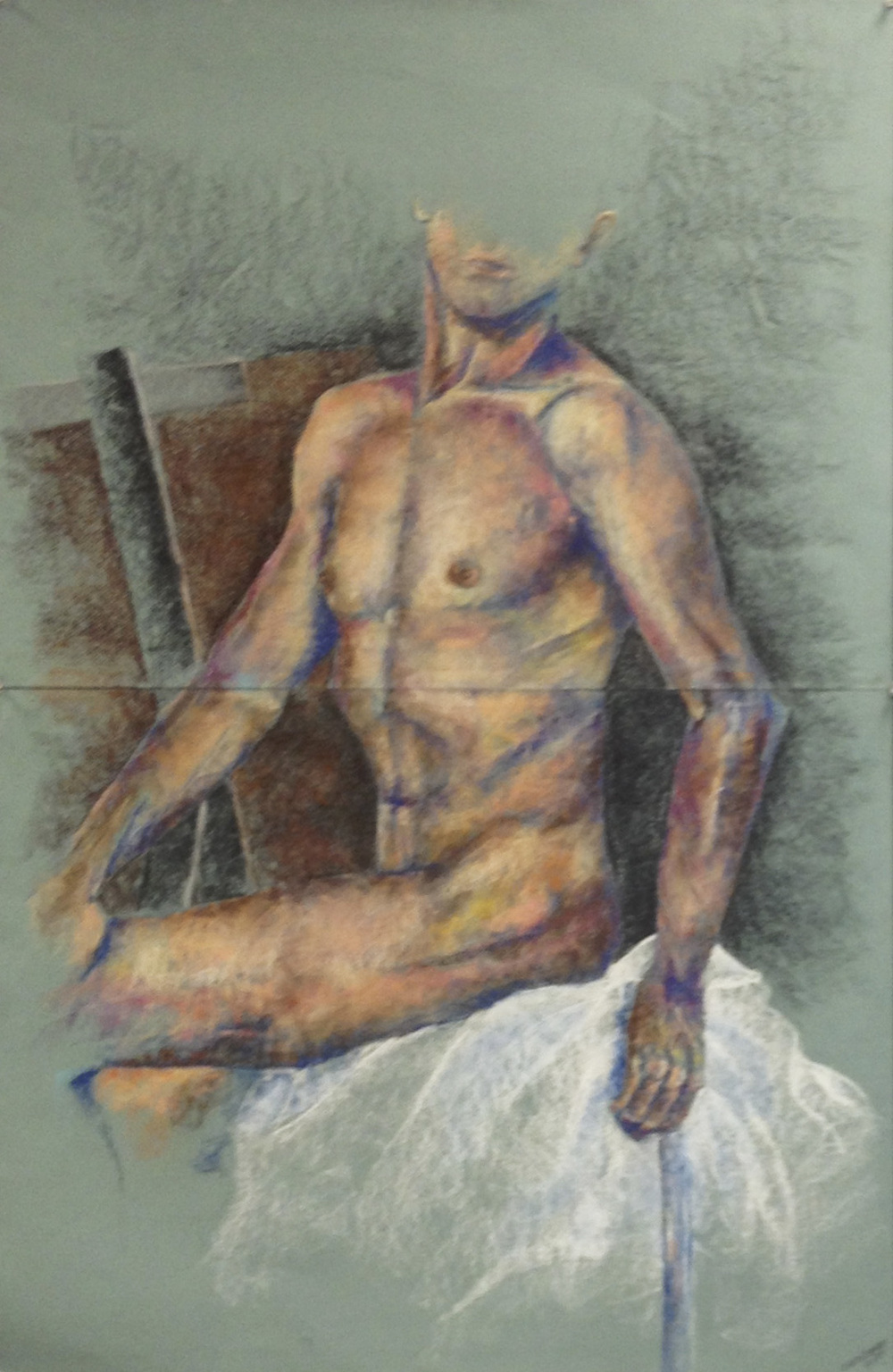 Camacho, Cristina-Pastel Layering Drawing - study of male Body- Pastel- 16-23nov.- 48x18 .jpg