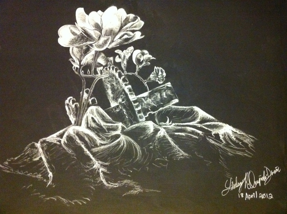 Drawing 1- white charcoal on black paper