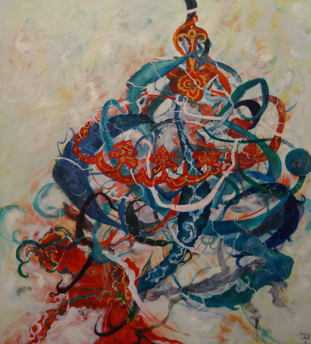 Mansourkhani Roya, Sama Dance, 2015, oil on canvas, 80%22x 72%22.jpg