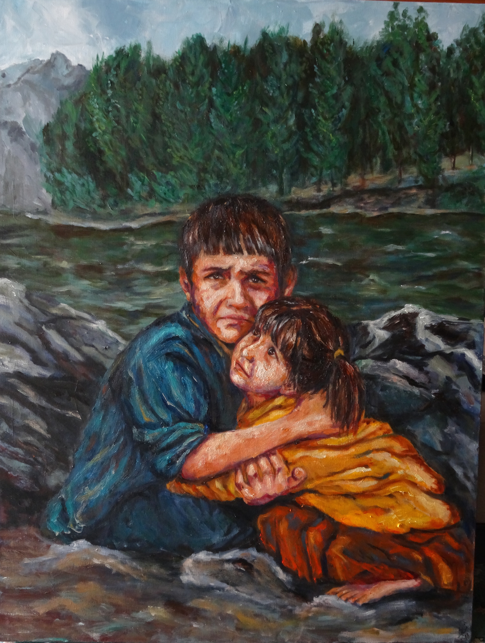 Mani &Mitra, oil-canvas, 48%22 x 36%22, 2015.jpg