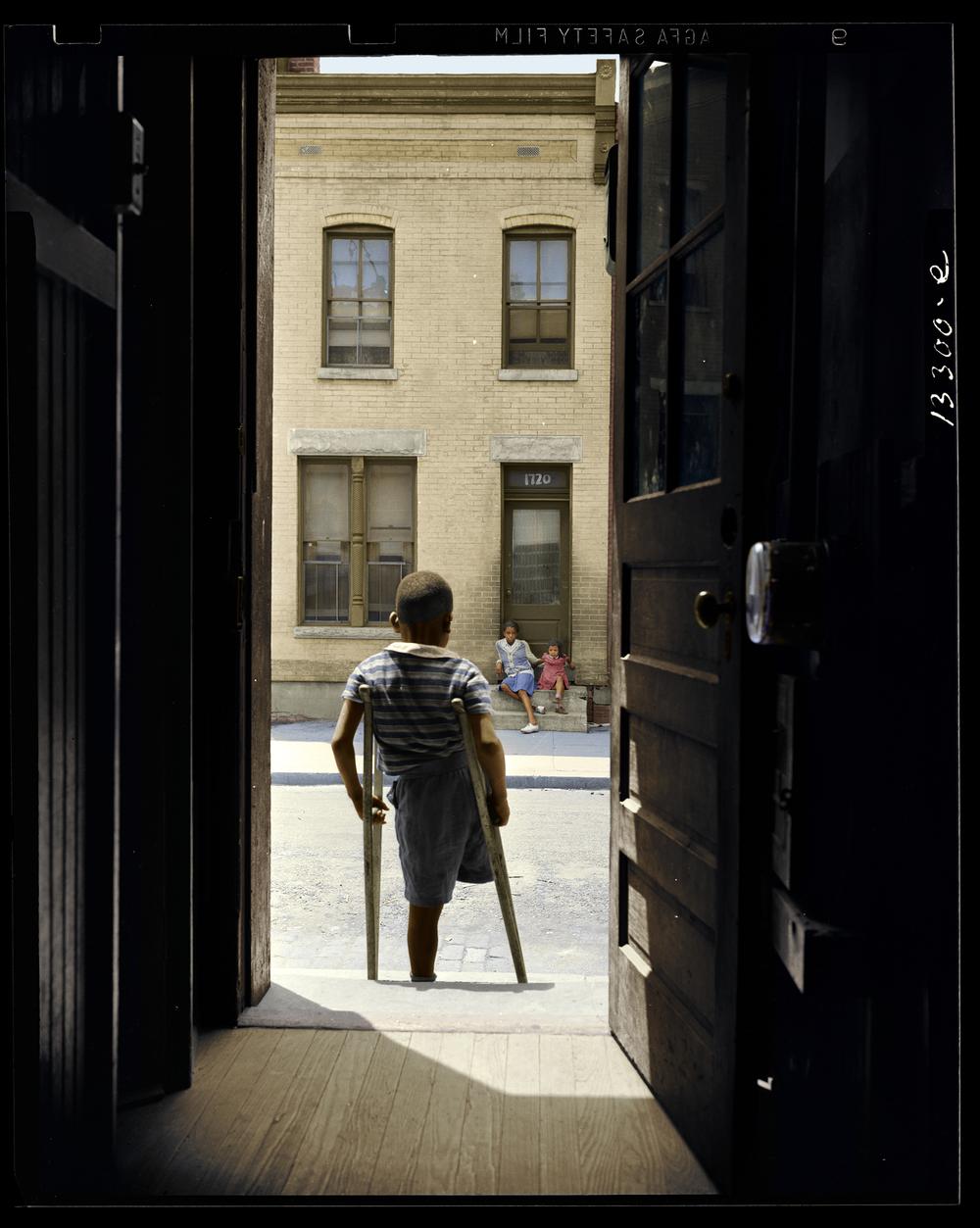 Young Boy in Door Frame, Washington DC, 1942