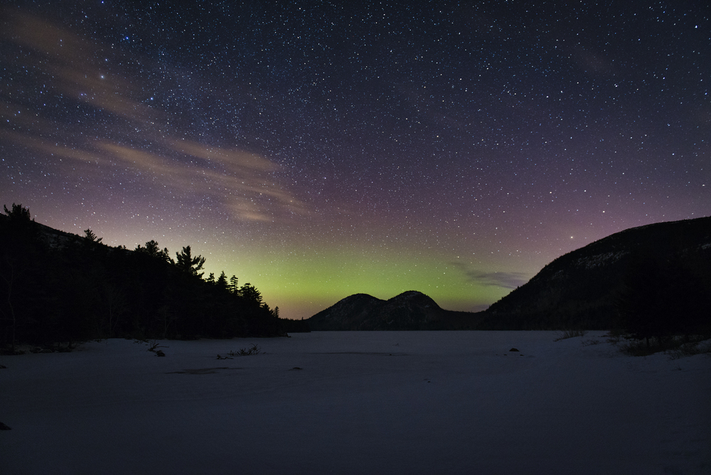 February Aurora, Jordan Pond, Acadia National Park