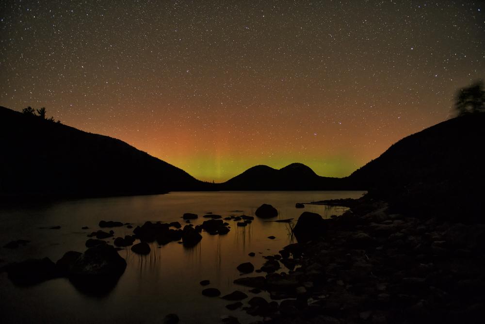 Aurora At Jordan Pond, Acadia National Park, Maine