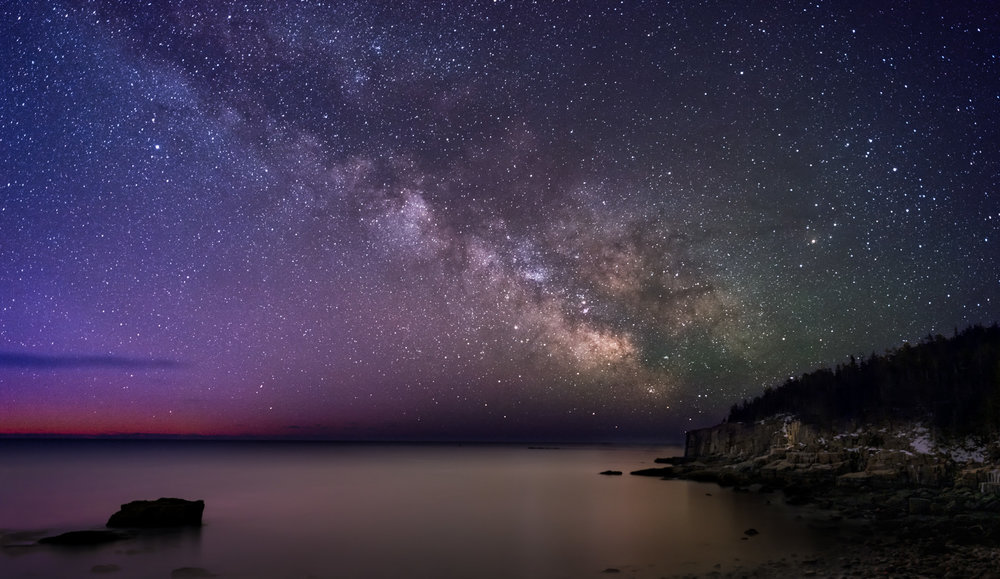 Sunrise Milky Way at Otter Cliffs in Acadia National Park, Maine