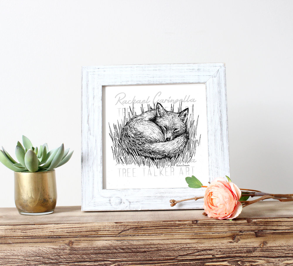 Sleeping Fox Art Print | Tree Talker Art