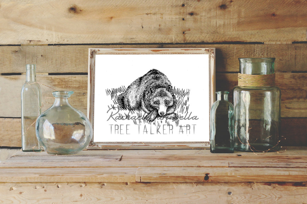 Sleepy Bear Art Print | Tree Talker Art