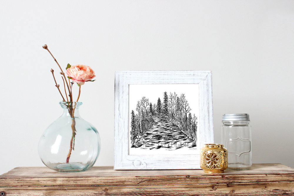 Rushing River Ink Drawing | Tree Talker Art