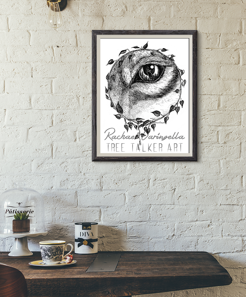 Full Moon Rising Wolf Eye Art Print | Tree Talker Art
