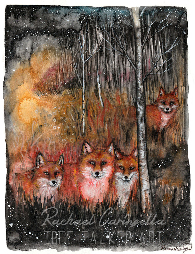 Spirit Foxes | Mixed Media Watercolor, Colored Pencil | Tree T